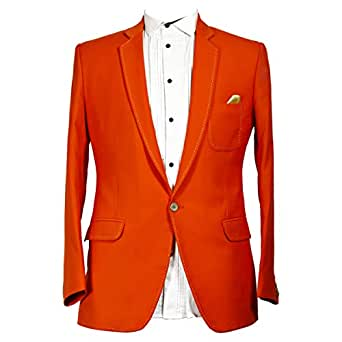 Libas Riyaz Gangji Orange Viscose Blazer For Men