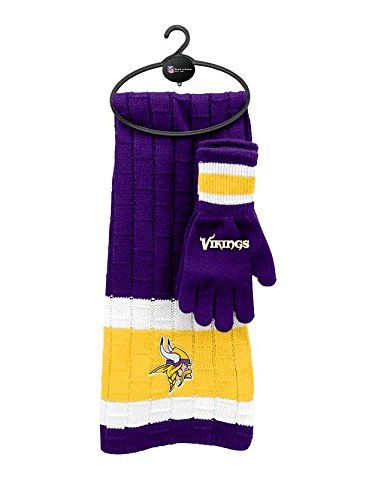 Minnesota Vikings Cold Weather Knit Scarf and Glove Set