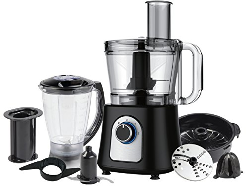 Ovente PF7007B Deluxe 12 Cup Multi-Function Food Processor with Blender, Chopper and Citrus Juicer, Matte Black