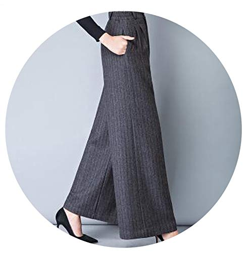 Winter Womens High Waist Flare Pants Warm Print Woolen Wide Leg Plaid Pants Women,Black Stripe B66,S