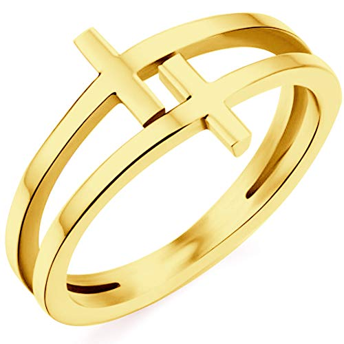 Kingray Jewelry Stainless Steel Double Christian Cross Ring Size 4-12 (Gold, 9) (Cross Cross Gold Ring)