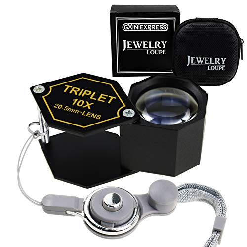 (Gain Express 10x Magnification Jewelery Loupe, 20.5mm Triplet Lens Achromatic Optical Glass Metal (Aluminum) Body Black Frame Hexagonal Design Kit Set Jewelry Pocket Magnifying Tool)
