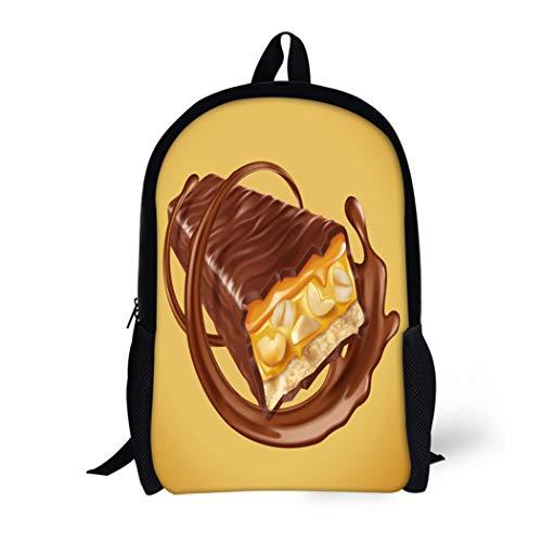 Nougat Swirls - Pinbeam Backpack Travel Daypack Chocolate Bar Sweet Nuts and Caramel Fillings Sauce Waterproof School Bag