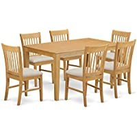 East West Furniture CANO7-OAK-C 7 Piece Table and 6 Chairs Small Set
