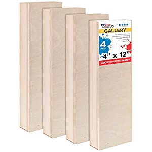 U.S. Art Supply 4″ x 12″ Birch Wood Paint Pouring Panel Boards, Gallery 1-1/2″ Deep Cradle (Pack of 4) – Artist Depth Wooden Wall Canvases – Painting Mixed-Media Craft, Acrylic, Oil, Encaustic