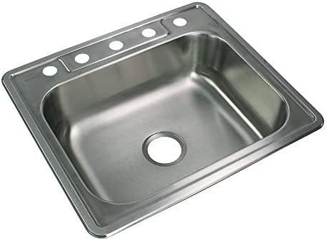 Transolid STSB25227-5 Select 5-Hole Drop-in Single Bowl 20-Gauge Stainless Steel Kitchen Sink, 25-in x 22-in x 7-in, Brushed Finish