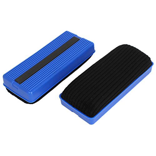 uxcell Plastic Shell Rectangle School Magnetic Erase Blackboard Eraser Chalk Marker Cleaner 2 Pcs Blue Black
