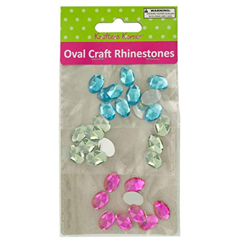 Faceted Oval Craft Rhinestones - 20/Pack (5 Pack)