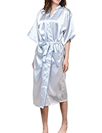 Women's Long Floral Peacock Kimono Robe Satin Nightwear with Pockets