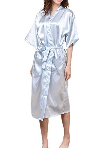 SexyTown Fashion Women's Long Satin Lounge Robe XX-Large Light Blue