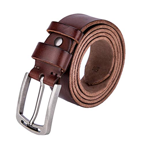 Mens Brown Leather Dress Belts Casual For Jeans Single Prong Buckle Packing With Gifts Box