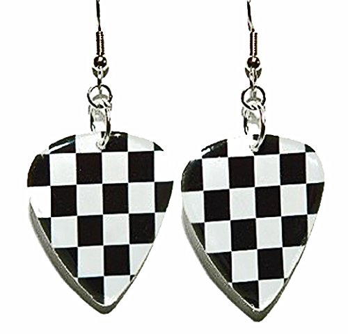 Black & White Checkered Flag Guitar Pick Dangle Earrings -