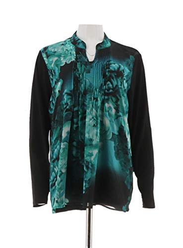 Susan Graver Liquid Knit Tunic Printed Woven Overlay A282917, Teal, L