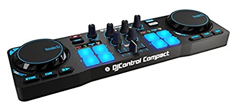 Hercules DJControl Compact super-mobile USB Controller with 8 Trigger Pads and 2 Virtual Turntable (DJ Equipment)