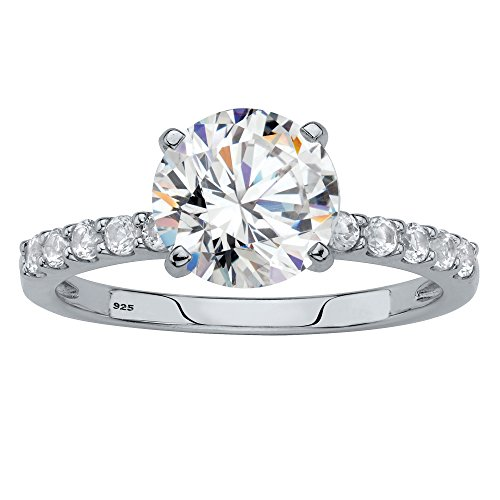 - Platinum over Sterling Silver Round Simulated White Sapphire Engagement Ring Size 9