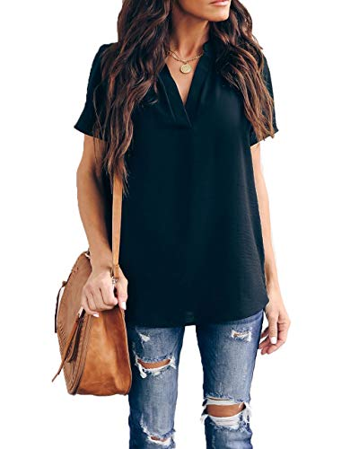 Allimy Women Summer Casual V Neck Chiffon Blouses Short Sleeve Loose Tunic Tops Plus Size Large Black ()