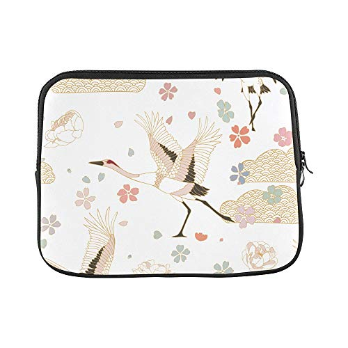 Design Custom Crane Animal Flying Chinese Wind Vintage Hand Drawn Sleeve Soft Laptop Case Bag Pouch Skin for MacBook Air 11