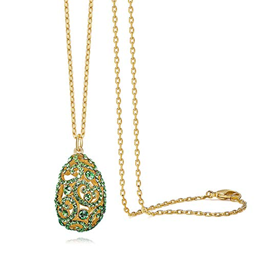 Crystal Egg Pendant - FKone Women's Long Necklace Romantic Charm Jewelry Simple Color Egg Pendant Long Sweater Chain with Swarovski Crystals, Hypoallergenic, with Clothing Accessories,Green