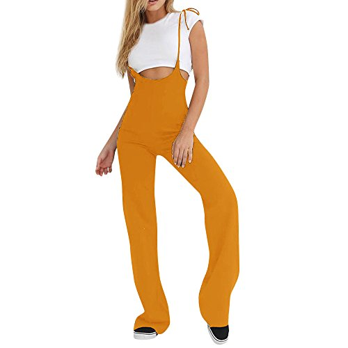 RAISINGTOP Women Holiday Sleeveless Summer Jumpsuit Overalls Romper Palazzo Pants High Waist Tall Sizes Elegant New (Yellow, S) ()