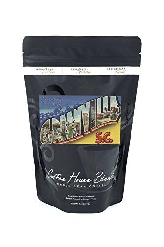 (Greenville, South Carolina - Large Letter Scenes (8oz Whole Bean Small Batch Artisan Coffee - Bold & Strong Medium Dark Roast w/ Artwork))