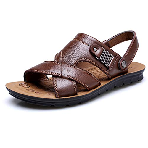 Sandals for Men Fisherman Leather Breathable Adjustable Breathable Beach Walking Slippers (US:9.5, Brown)
