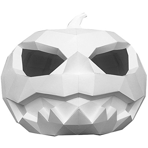 L'vow DIY Paper Horror Pumpkin Mask Full Headgear Decoration Cosplay Halloween Props (Large, White)
