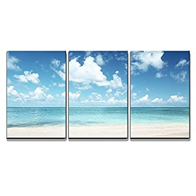 3 Piece Canvas Wall Art - Sand of Beach Caribbean Sea - Modern Home Art Stretched and Framed Ready to Hang - 16