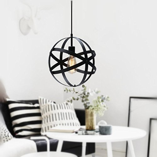 [Upgrade]Industrial Spherical Pendant Light, KINGSO Dimmable UL Listed Globe Hanging Lamp Antique Sphere Chandelier Light Black Ceiling Light Fixture For Kitchen Hallway Porch Dining Room Entryway Bedroom