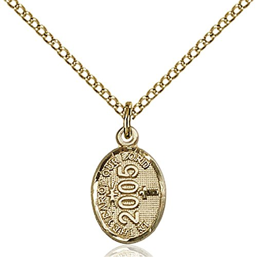 2004 Pendant Jewelry - Gold Filled 2004 Charm Pendant 3/8 x 1/2 inches with Gold Filled Lite Curb Chain