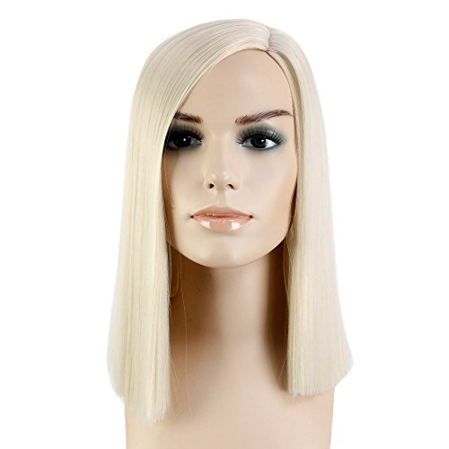 Stfantasy Wigs for Women Cosplay Costume Long Straight Synthetic Middle Part Peluca 16 Inch 185g w/ free Wig Cap and Clips, Light Blonde (Deluxe Blonde Mullet Wig)