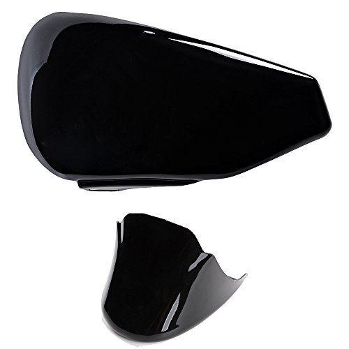 Set Cover Left Side Battery + Front Spoiler + Mounting Kit for 2004-2013 Harley Sportster XL 883 1200 (Glossy Black) (Battery Cover Set)