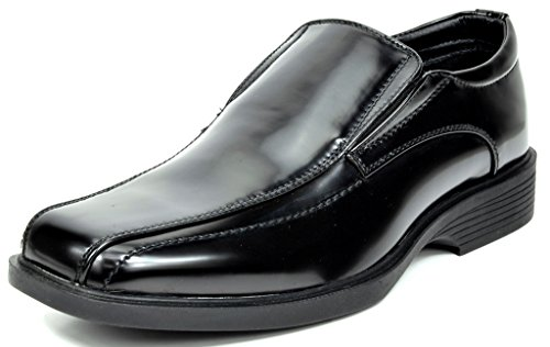 Bruno Marc Men's Cambridge-05 Black Pat Leather Lined Dress Loafers Shoes - 14 M US
