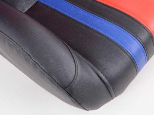 Sportsitz Set Portland Kunstleder schwarz//rot//blau mit Laufschienen