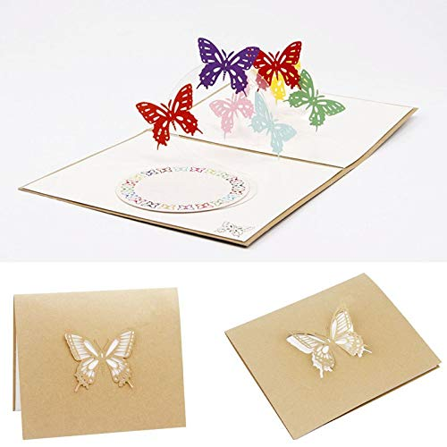 Cards & Invitations - 3d Pop Up Card Butterfly Happy Anniversary Birthday Valentine Christmas - Baptism Anniversary Up Thank Chocolate You Men 3d Invitations 3d Halloween Greeting Card Wedd ()