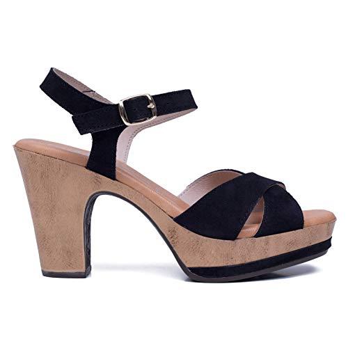 8a87cdfdcd4 Piel Tacón Mujer Hechos Confort En Mimao Sandalia España Plataforma Gel  Plantilla Con Negro Mujer Zapatos Cómodos FRw0qUg55