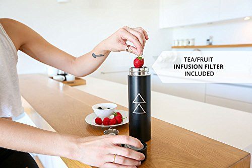 THE ZOTO BOTTLE by YOGA DESIGN LAB | Premium Insulated Stainless Steel Water Bottle with Loose Leaf Tea/Fruit Infusion Filter Included | Designed to Keep Liquids Hot or Cold for 12+ Hours
