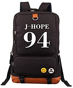 Korean BTS Member series fashion backpack Water Resistant Outdoor Camping Laptop Travel Rucksack Daypack School student Bookbag for men and women,Black-b037