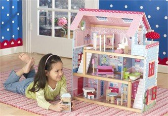 KidKraft Chelsea Wooden Dollhouse Pretend Play Cottage with Furniture | 65054