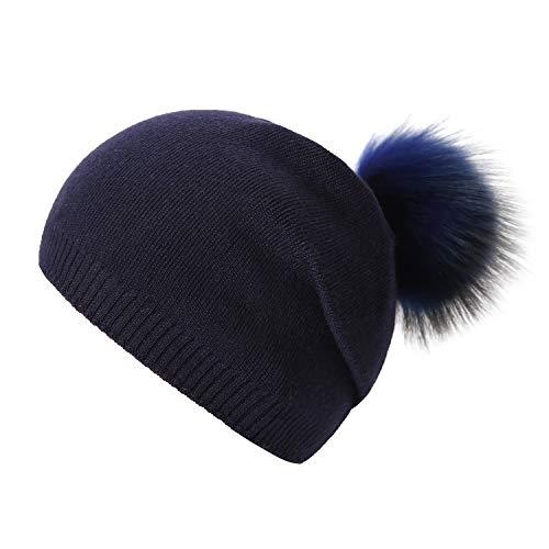 Women Knit Wool Beanie - Winter Solid Cashmere Ski Hats Real Raccoon Fur Pom Pom (Dark Blue)
