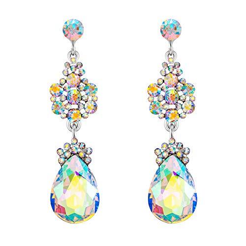 - EleQueen Austrian Crystal Elegant Teardrop Dangle Wedding Earrings For Women Clear AB Silver-Tone