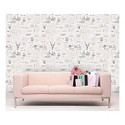 Large Wall Mural Cute Animals and Retro Style...