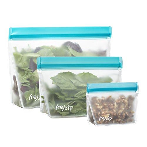(rezip 3-Piece Stand-Up Leakproof Reusable Storage Bag Kit 8/16/32-ounce (Aqua))
