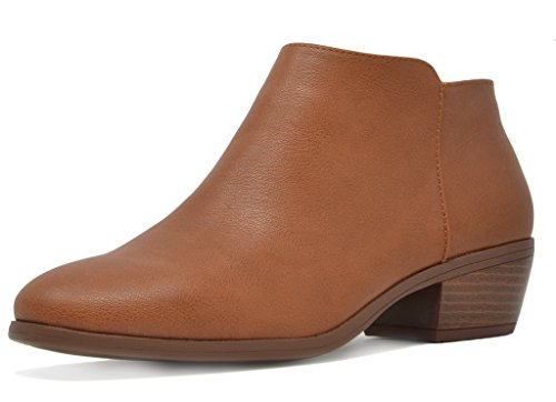 Block Women's tan TOETOS Heel Cowboy Zipper 01 Pu Booties Side Ankle zEOwdw