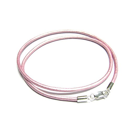 (Dreambell 925 Sterling Silver Metallic Pink (suraiya) Round Natural Leather Cord 2mm Choker Necklace 16 Inches)