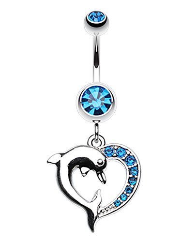 Enchanting Heart Dolphin Belly Button Ring - 14 GA (1.6mm) - Capri Blue - Sold Individually
