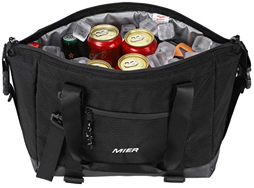 (MIER Insulated Lunch Bag Tote with Shoulder Strap Leakproof Cooler Bag for Men and Women, 15 Can, Black)