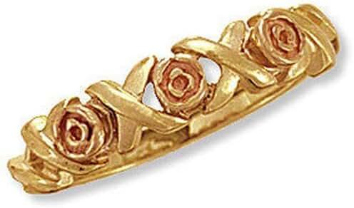 Landstroms Ladies 10k Black Hills Gold Ring with Roses - 02725