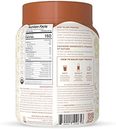 KOS Organic Plant Based Protein Powder, Salted Caramel Coffee - Delicious Vegan Protein Powder - Gluten Free, Dairy Free & Soy Free - 1.2 Pounds, 15 Servings 8