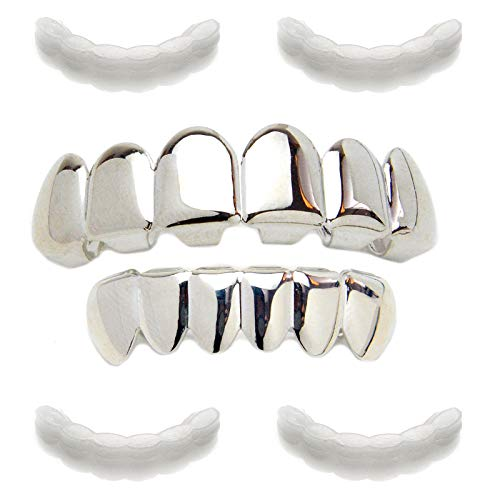 METALTREE98 Plain Grillz Silver Plated Top & Bottom Set 4pc Fixing Bar LS 001 S