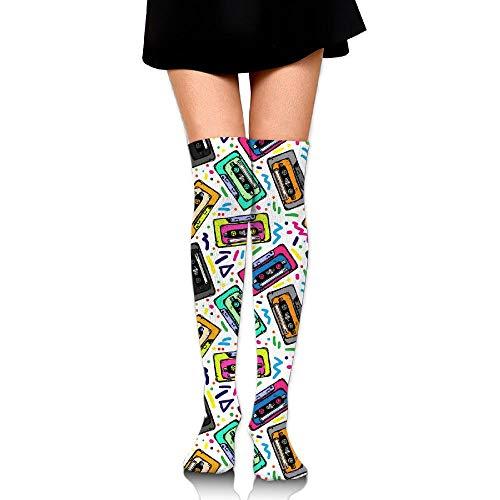 Women's/Girls Cassette Tape Pattern Casual Socks Yoga Socks Over The Knee High Socks - Pattern Cassette
